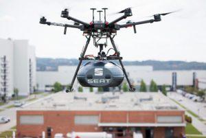 dron grupo sesé seat montaje piezas martorell aéreo logística futuro